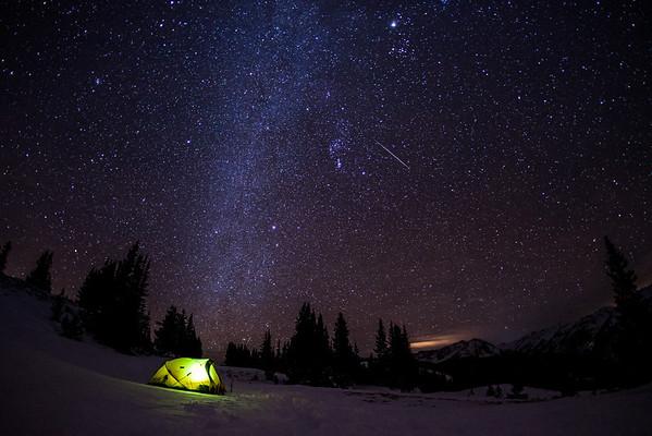 Camping under the Geminid Meteor shower near Aspen Colorado.