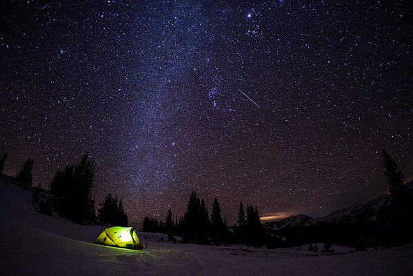 Camping under the Geminid Meteor shower near Aspen Colorado.