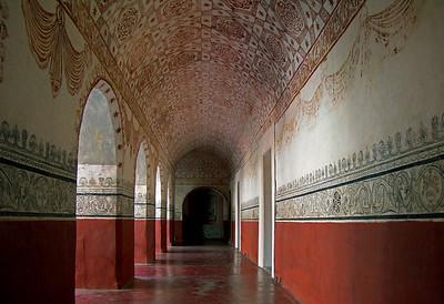 Lower Corridor, restored, Augustinian Monastery, Tepotzlan, Mexico