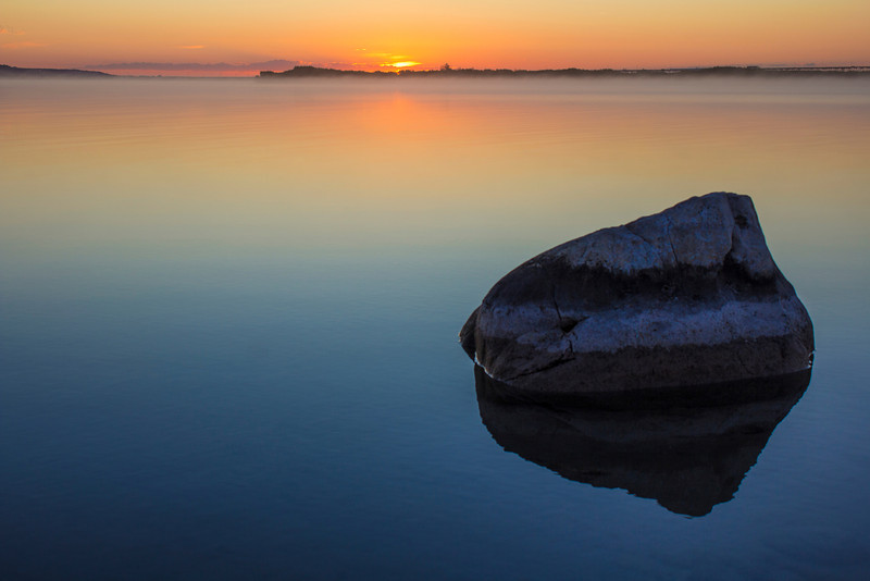 Lake Michigan Rock at Sunrise
