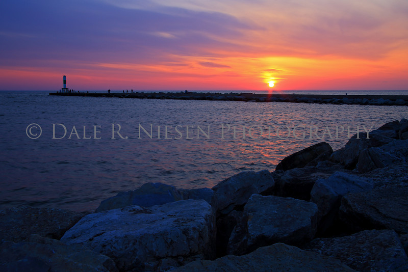Sunset over Lake Michigan at Holland State Park, Holland, Michigan