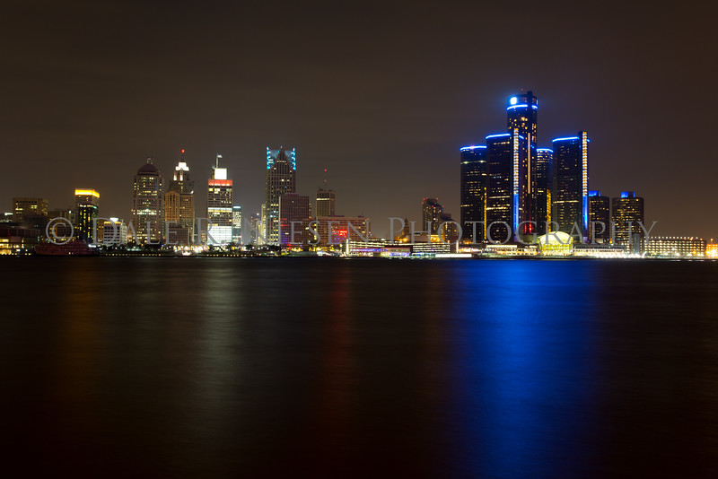 The Detroit, Michigan skyline as seen from Windsor, Ontario.