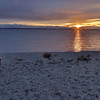 Golden sunrise at over Lake Huron at Mackinaw City, Michigan