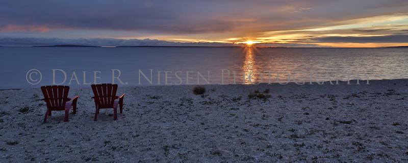 Golden sunrise at over Lake Huron at Mackinaw City, Michigan