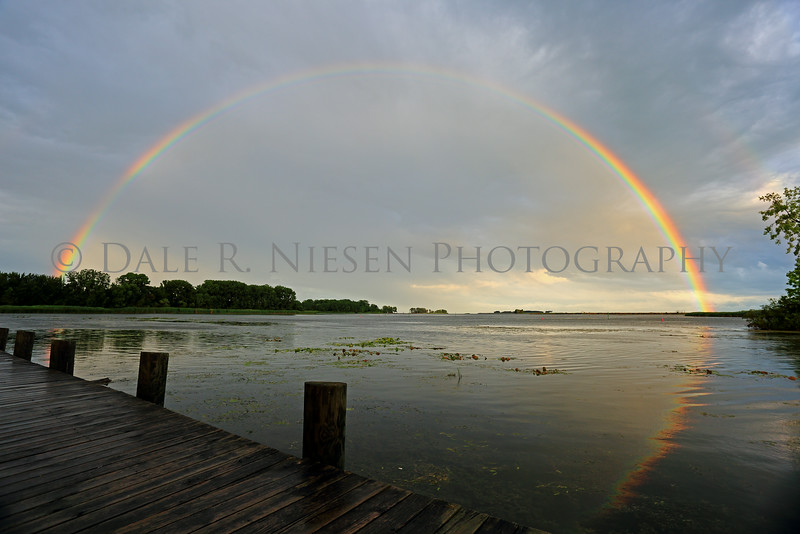 Rainbow at the mouth of the Huron River over Lake Erie at Pointe Mouillee State Game Area, Brownstown Township, Wayne County, Michigan.   Taken 7/27/2014