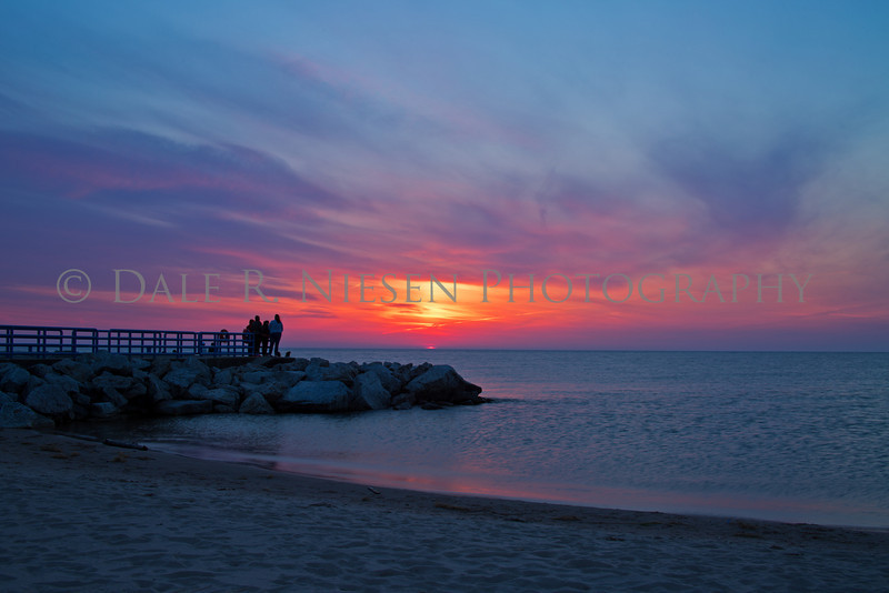 Sunset over Lake Michigan at Holland State Park, Holland, Michigan