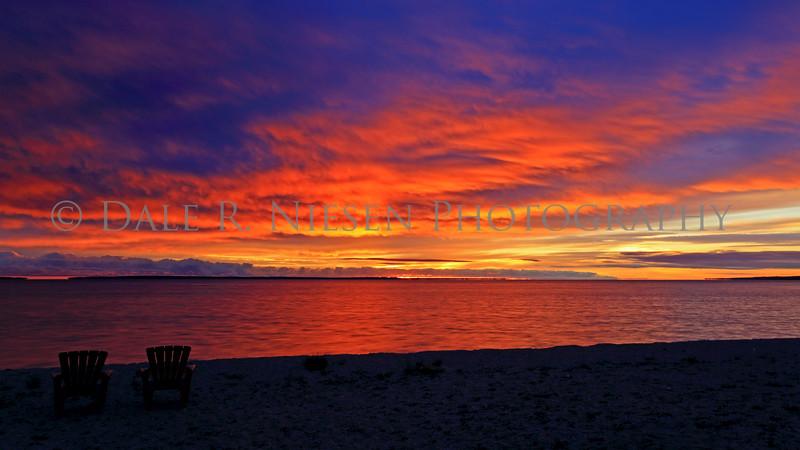 Sunrise over Lake Huron at Mackinaw City, Michigan