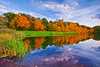 Ohio, Cuyahoga Valley National Park, Indigo Lake, Fall Colors Foliage, Reflection, Sunset Landscape 俄亥俄 坎格瑞沼泽国家公园 风景 秋色