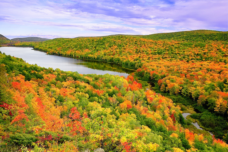 Michigan, Upper Peninsula, Porcupine Mountains, Fall Colors, Foliage Landscape 密歇根 北部半岛 风景 秋色