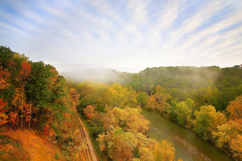 Ohio, Cuyahoga Valley National Park, Fall Colors Foliage, Morning Fog, Sunrise Landscape 俄亥俄 坎格瑞沼泽国家公园 风景 秋色