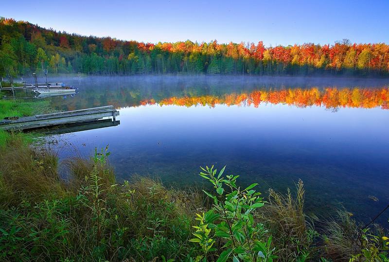 Michigan, Upper Peninsula, Lake, Fall Colors, Foliage, Reflection Landscape 密歇根 北部半岛 风景 秋色