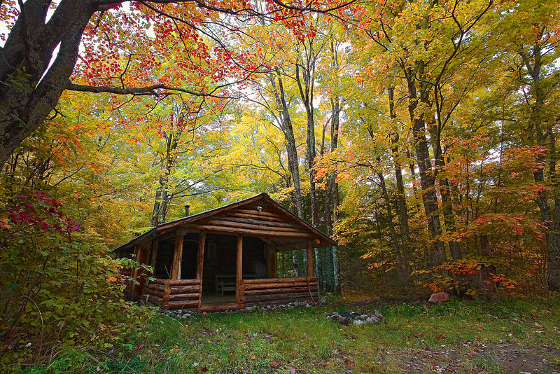 Michigan, Upper Peninsula, Pictured Rocks National Lakeshore, Fall Colors, Cabin  Landscape