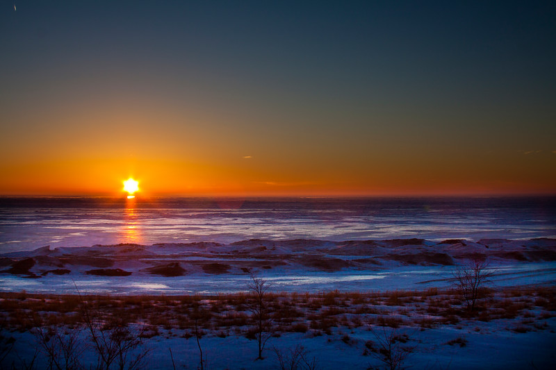 Frozen South Haven sunset.