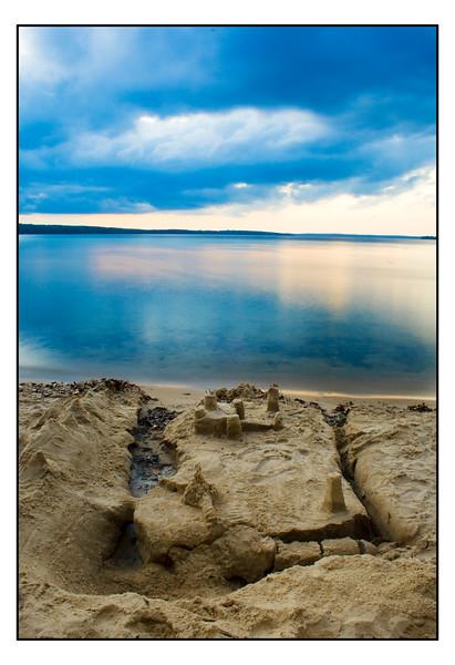 Sandcastles at an inland lake in Michigan.