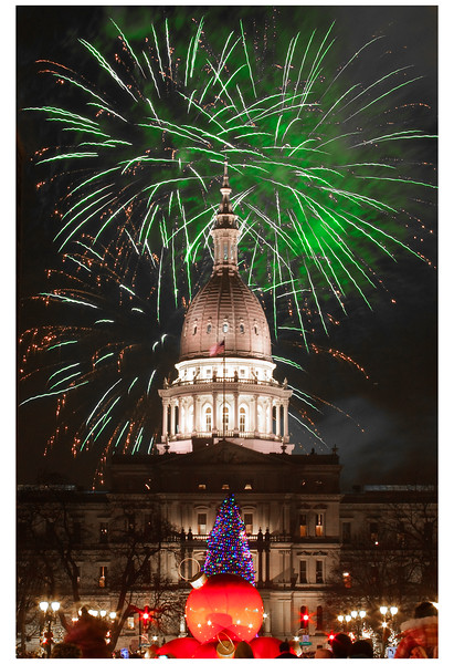 Silver Bells in the City fireworks in Lansing, Michigan.