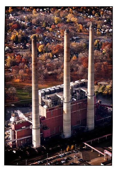 Board of Water and Light smokestacks in Lansing, Michigan.