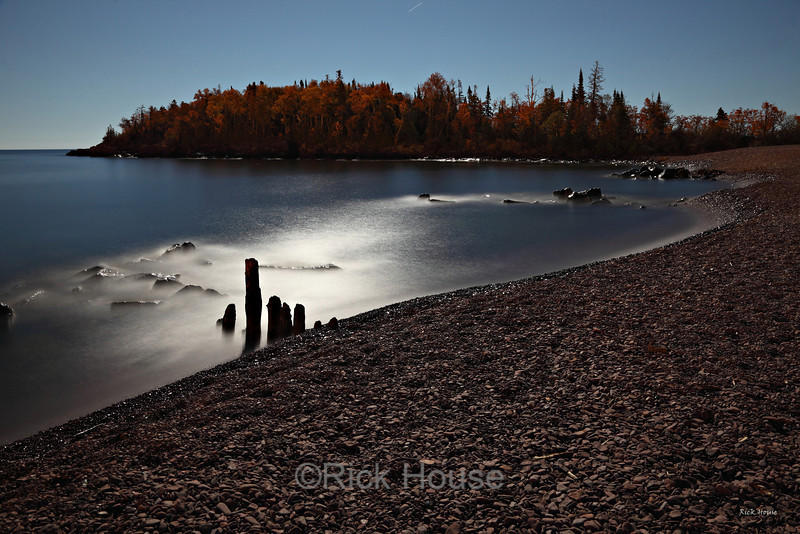 Fall colors by moonlight.  Artist Point, Grand Marais.