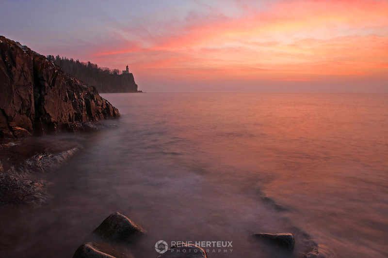 Split Rock Lighthouse colorful sunrise