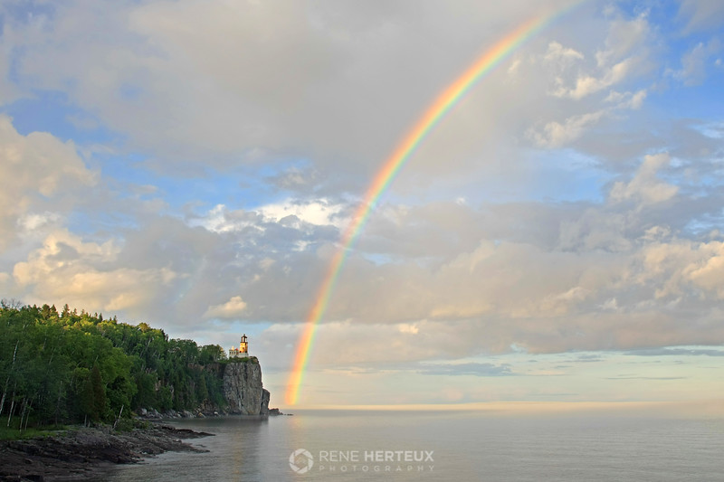 Rainbow over Split Rock lighthouse