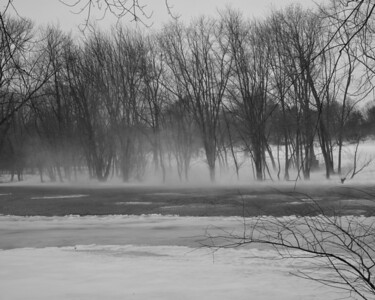 20130217. Snow blowing over Concord River in Minute Man NHP.