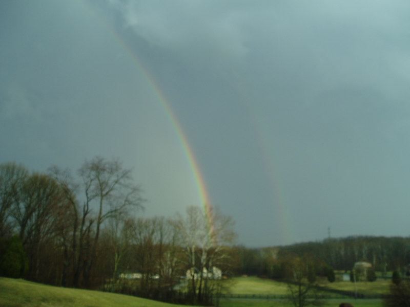 Double rainbow view from deck, Spring 2005