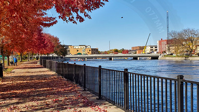 This view looks west, along the river, from near the city bus terminal.  Janesville, Wisconsin (USA)