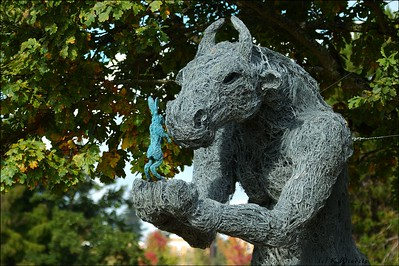 Minotaur with Hare sculpture made entirely of wire. UBC Botainical Gardens