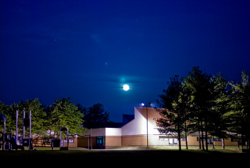 Lake Seneca Elementary School with a full moon at 4AM