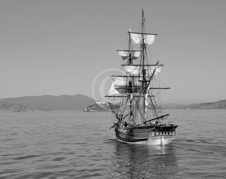Vintage sailing ship going to Alcatraz island in the San Francisco Bay
