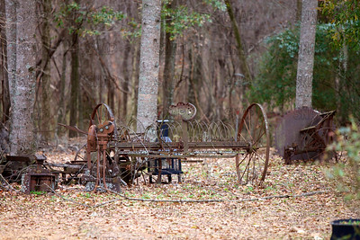 Old hay rake in rural Alabama.