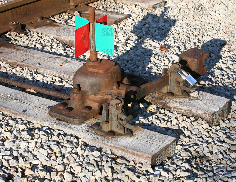 Manual railroad track switch.