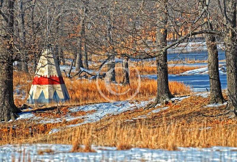 Winter teepee in Oklahoma