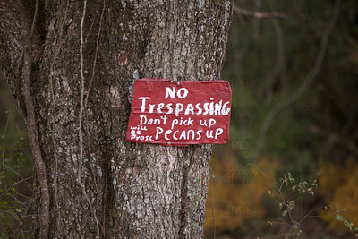 No trespassing sign in rural Alabama.