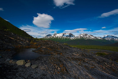 "Signs of climate change in action: Alaska's Exit Glacier, located on the Kenai Peninsula near Seward, has been retreating for years. In is wake are countless ""kettle"" ponds and lakes and scraped, striated rocks, like these on the trail leading right up to the edge of the glacier."
