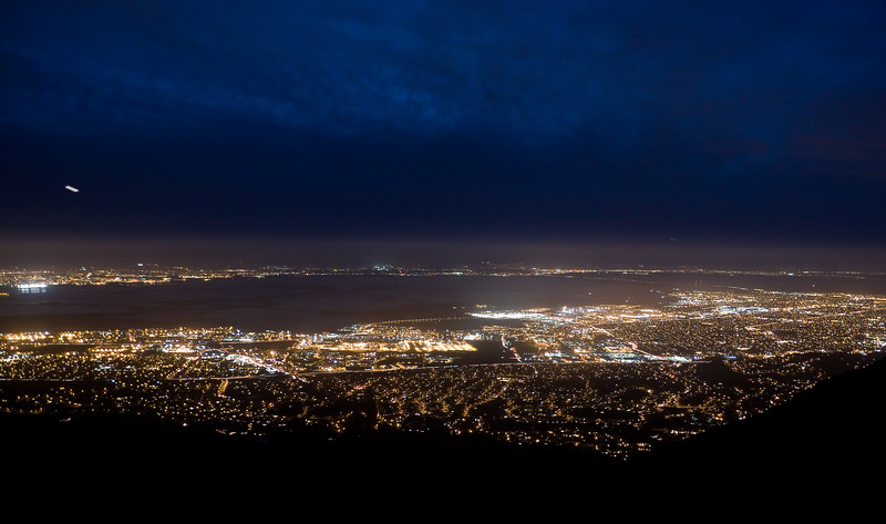The view to the west was mostly clear so I was able to get this shot of the lights of San Francisco Bay.