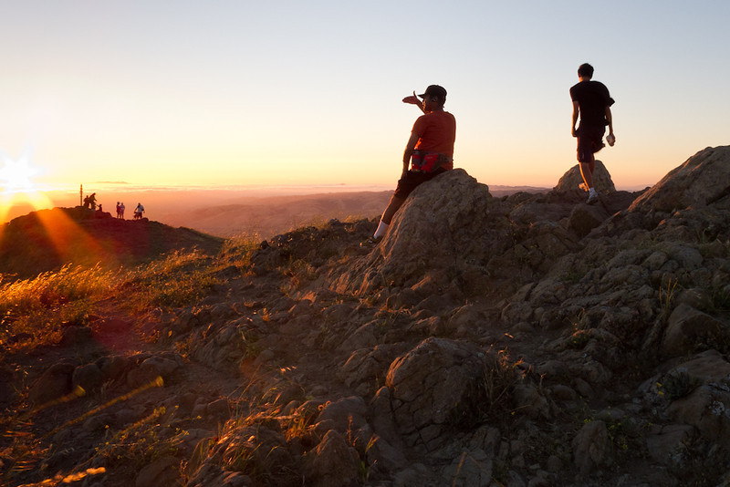 There was a nice warm summer breeze at the summit that evening.