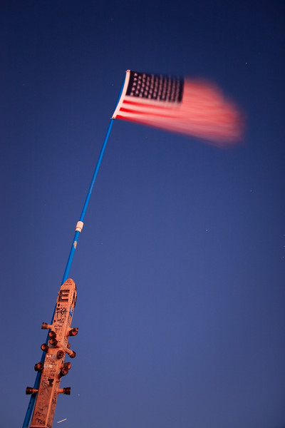 A few weeks ago, someone attached the American flag to Mission Peak's summit marker. This photo shows the flag waving briskly in the wind.