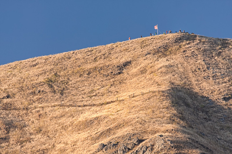 Here is a zoomed-in shot of the American Flag at the summit. I was using a Canon 40D with an EF 70-300mm f/4-5.6L IS lens. The photo was taken at 300mm (480mm with 1.6 crop factor).