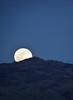 The full moon rises above the horizon.