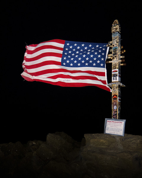 The American Flag proudly flies on Mission Peak to celebrate our veterans on Memorial Day.