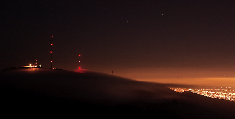 Another photo of the thickening fog rolling over Mt. Allison about five minutes later. This is a 20-second exposure.