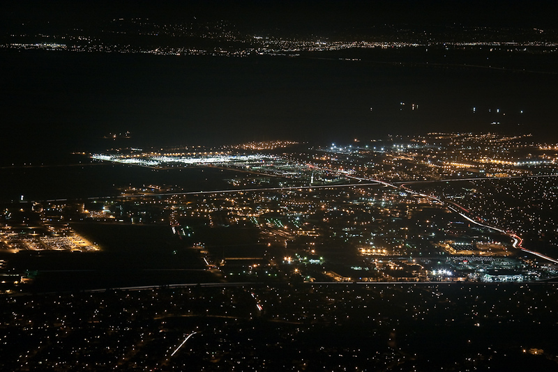 A view of Fremont's city lights. I believe the road leading to the Baylands on the right is the Auto Mall Parkway.