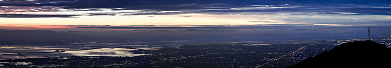 A view of the South Bay looking northwest from Mission Peak. This photo is comprised of 8 frames stitched together.