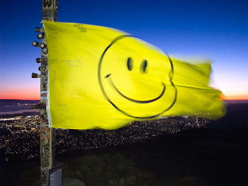 Smiley Face flies over the East Bay.