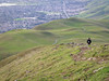 Hiker descending Mission Peak.