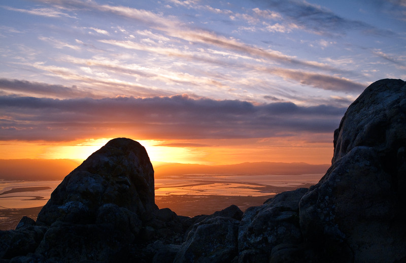 A view of the sunset from Mission Peak's summit.