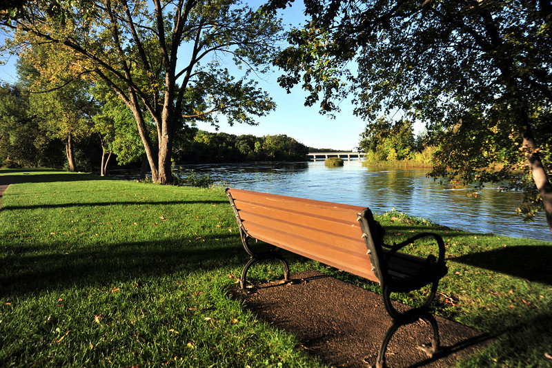 Park along the river in Little Falls, MN