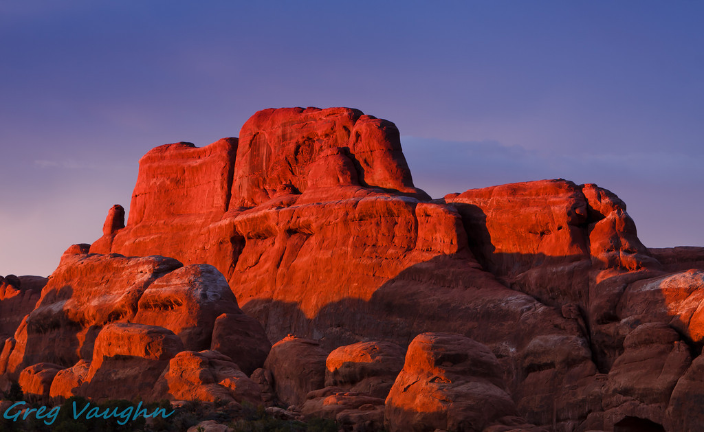 Sunset at Fiery Furnace in Arches NP, Utah