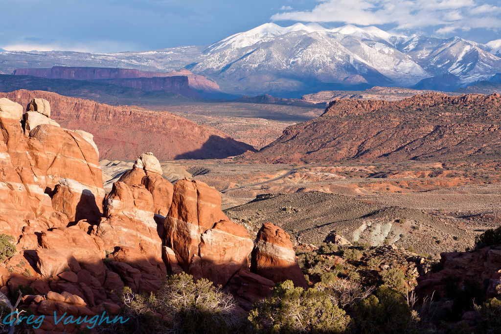 View of Fiery Furnace and La Sal Mountain Range at Arches NP, Utah.