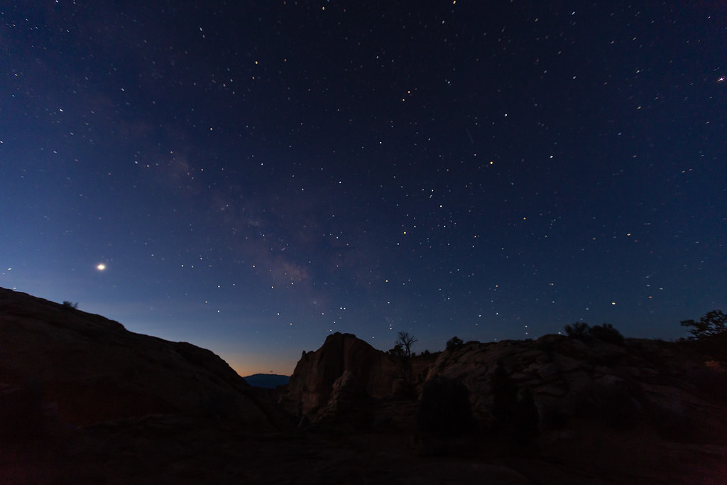 The Milky Way and Venus near the Mesa Arch in Canyonlands National Park.